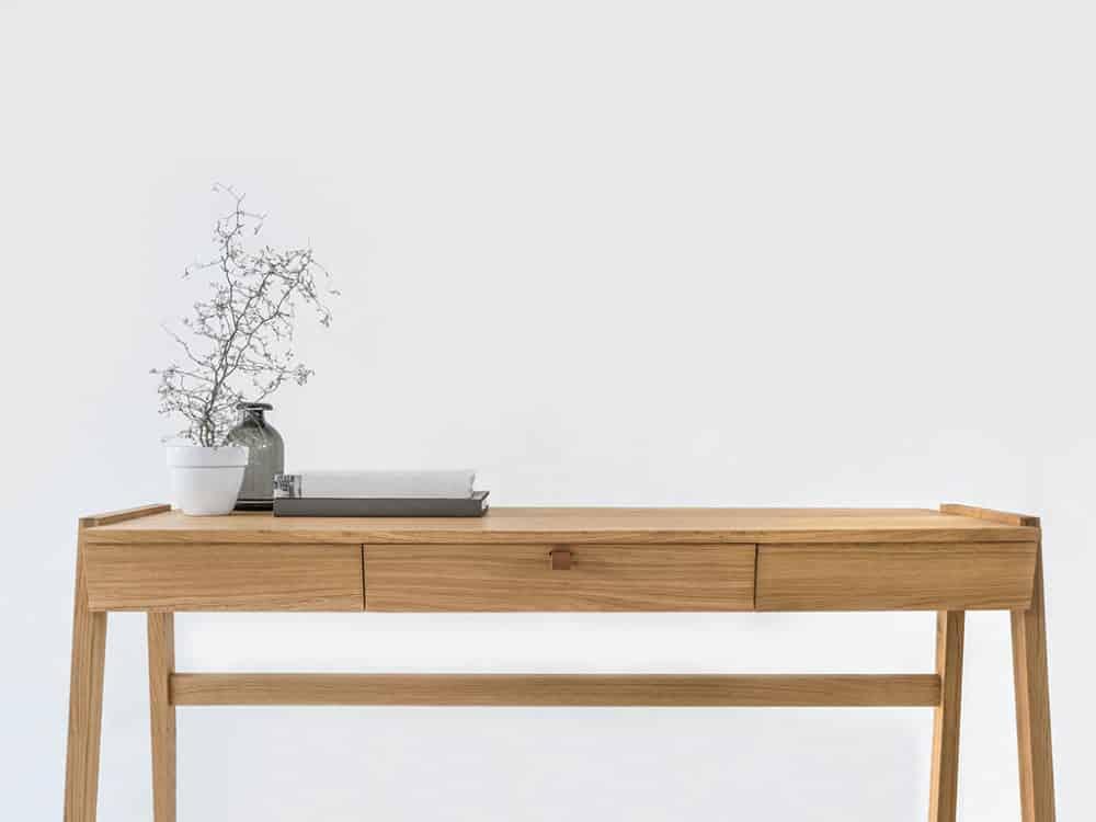 Biurko dębowe z litego drewna z szufladą